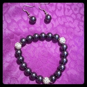 Pave crystal & glass pearl bracelet earrings set